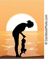 Mutter und Kind bei Sonnenuntergang.