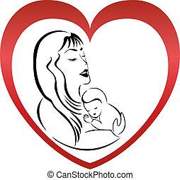Mutter und Sohn Logovektor