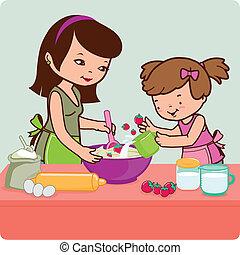 Mutter und Tochter kochen in der Küche. Vector Illustration