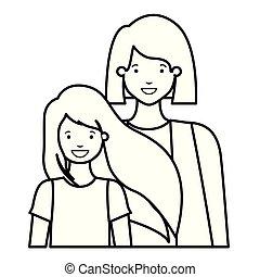 Mutter und Tochter lachen Avatar Charakter.