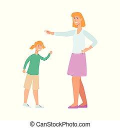 Mutter wütend auf ihr Kind, Zeichentrickfiguren-Konflikt mit Frauen, die versuchen, ein junges Mädchen zu disziplinieren.