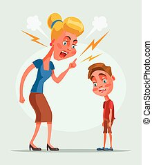 Mutterfigur schimpft den Sohn. Vector flache Zeichentrickfigur