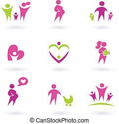 Mutterschaft, Schwangerschaft und gesundheitliche Ikonen isoliert auf weißem - pink,