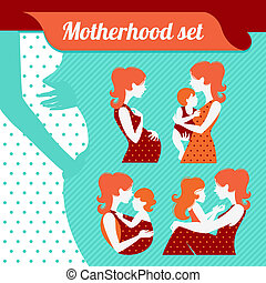 Mutterschafts-Set. Silhouette von Mutter und Baby