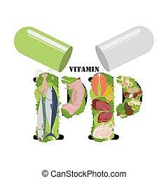 nährstoff, gesundes essen, reich, vektor, abbildung, pp, vitamin