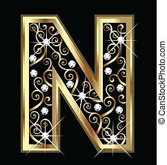 N-Goldbrief mit verdrahteten Schmuckstücken