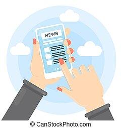 Nachrichten über Smartphone.