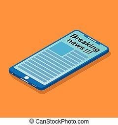 nachrichten, schirm, smartphone