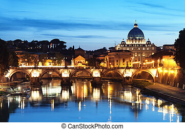 Nachtbild von St. Peter's Basilika, ponte sant angelo und tiber River in rome - italy.