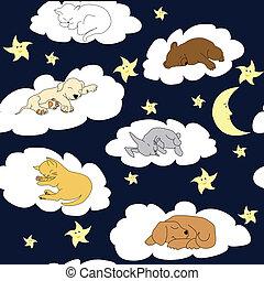 Nachthimmel-Hintergrund mit schlafenden süßen Cartoon-Tieren