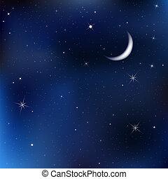 Nachthimmel mit Mond und Sternen