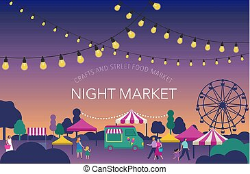 Nachtmarkt, Sommerfest, Lebensmittelmarkt, Familienfestplakate und Banner.