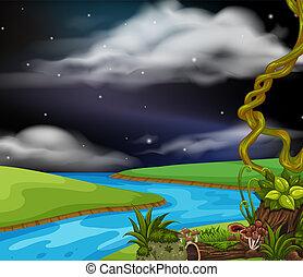 Nachts eine Flusslandschaft.
