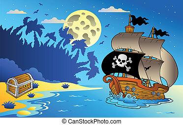 Nachtschiff mit Piratenschiff 1