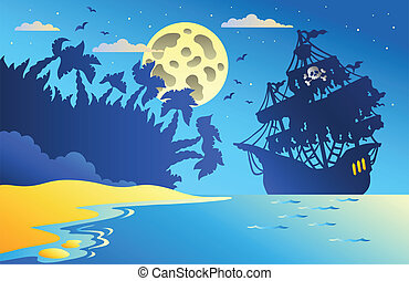 Nachtschiff mit Piratenschiff zwei