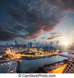 Nachtsicht auf shanghai china.