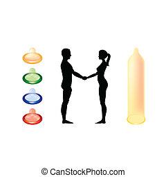 Nackter Mann und Frau halten Händchen - Silhouette Illustration