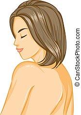 Nacktes Mädchen mit schönen Haaren