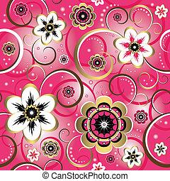 Nahelose Blumen, dekorative rosa Muster (Vektor)