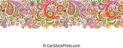 Nahelose dekorative Grenze mit abstrakt bunten Blumendruck.