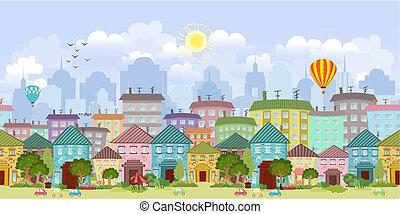 Nahelose Grenze mit einem Stadtbild
