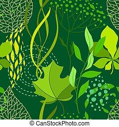 Nahelose Naturmuster mit stilisierten grünen Blättern.