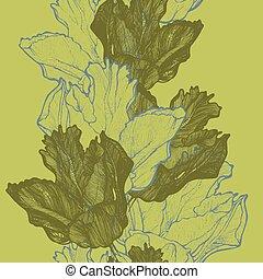 Naheloser Frühlingshintergrund mit Tulpen, Handbremse. Vector krank