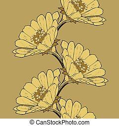 Naheloser Hintergrund mit Blüten-Zinnien, Handarbeit. Vector krank