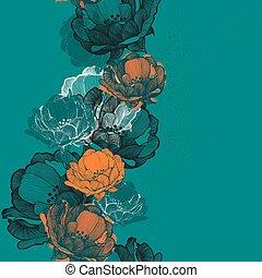 Naheloser Hintergrund mit Blumen-Rohip-Handziehen. Vector il