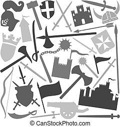 Naheloses Muster mit mittelalterlicher Ikone.