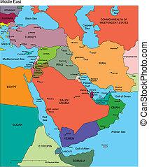 Naher Osten mit redaktionellen Ländern, Namen