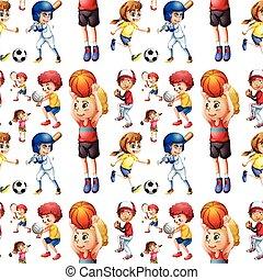 Nahmlose Kinder spielen Sport.
