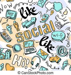 Nahmloses doodle soziale Medienmuster Hintergrund.