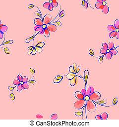 Nahmloses rosa Muster mit Blumen.
