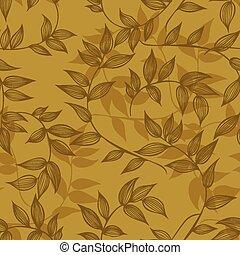 Nahtlose Äste mit Blättern, Handziehen. Vector I