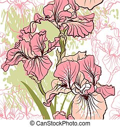 Nahtlose Muster mit dekorativen Irisblüten in Retrofarben.