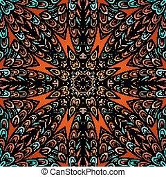 Nahtlose Muster mit farbigem Zirkelschmuck.