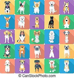 Nahtlose Muster mit flachen Hunden.