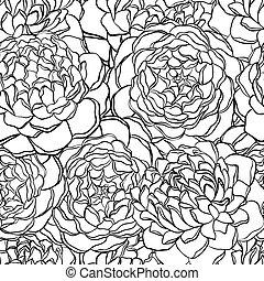 Nahtlose Muster mit monochromen, schwarzen und weißen Blumen.