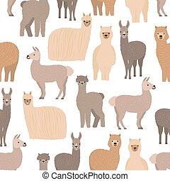 Nahtlose Muster mit süßen Lamas und Alpakas auf weißem Hintergrund. Backdrop mit lustigen, wilden, wooly heimischen Tieren. Farbige Vektorgrafik im flachen Comic-Stil für Stoffdruck, Tapete.