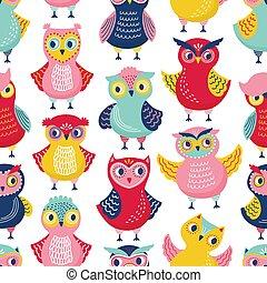 Nahtlose Muster mit süßen lustigen Eulen oder Eulen auf weißem Hintergrund. Kinderliche Kulisse mit intelligenten Waldvögeln. Flat Cartoon Vektor Illustration für Verpackungspapier, Tapete, Textildruck.