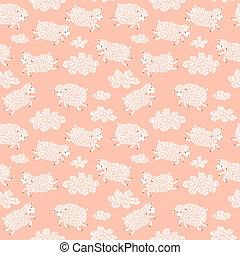 Nahtlose Muster mit süßen Schafen und Wolken.