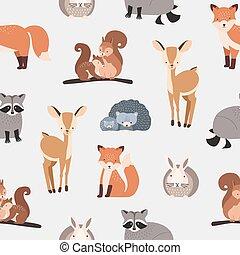 Nahtlose Muster mit verschiedenen süßen Cartoon-Waldtieren auf weißem Hintergrund - Eichhörnchen, Igel, Fuchs, Hirsch, Kaninchen, Waschbär. Flat Vektorgrafik für Textildruck, Tapeten, Verpackungspapier.