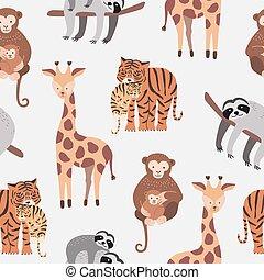 Nahtlose Muster mit verschiedenen süßen und lustigen Trickfilm-Zoo-Tiere auf weißem Hintergrund - Affen, Sloth, Tiger, Giraffe. Farbige Vektorgrafik für Stoffdruck, Tapete, Verpackungspapier.