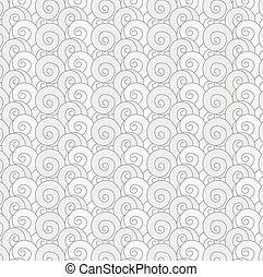 Nahtlose Muster verwirbeln monochrome Wellen japanischen Hintergrund.