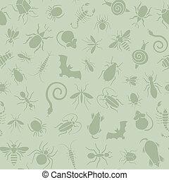 Nahtlose Muster von Ikonen mit Insekten für die Schädlingsbekämpfung