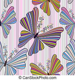 Nahtlose Streifen mit Schmetterlingen.