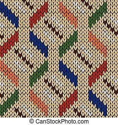 Nahtlose strickende geometrische Muster in verschiedenen Farben.