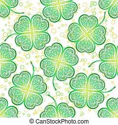 Nahtloses Muster, grünes Kleeblatt
