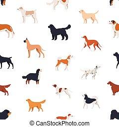 Nahtloses Muster mit Begleithunden verschiedener Rassen auf weißem Hintergrund. Backdrop mit lustigen reinrassigen Haustieren verschiedener Arten. Flat Cartoon Vektorgrafik für Tapete, Stoffdruck.
